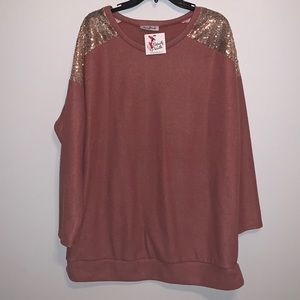 Boutique Long Sleeve Sequence Sweater Like Top